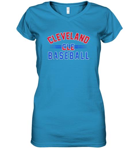 cqj8 cleveland cle baseball women v neck t shirt 39 front sapphire
