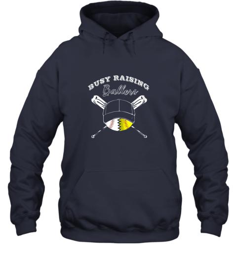 wyzu busy raising ballers softball baseball mom funny gift hoodie 23 front navy