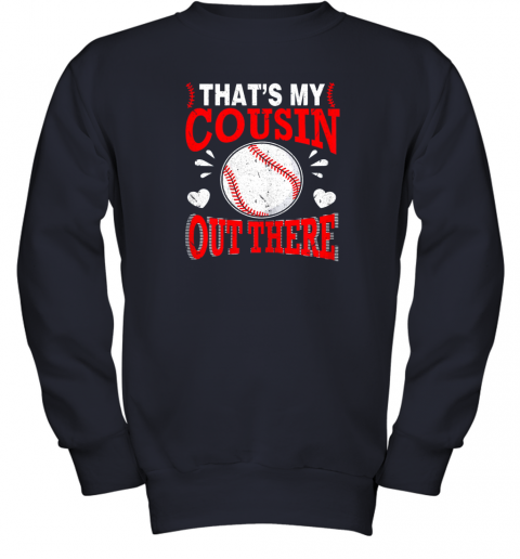 6lkb hearts baseball player that39 s my cousin out there fan youth sweatshirt 47 front navy
