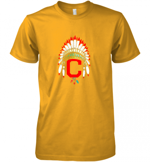 unpk new cleveland hometown indian tribe vintage for baseball premium guys tee 5 front gold