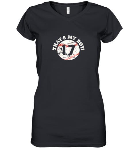 That's My Boy #17 Baseball Player Mom or Dad Gift Women's V-Neck T-Shirt