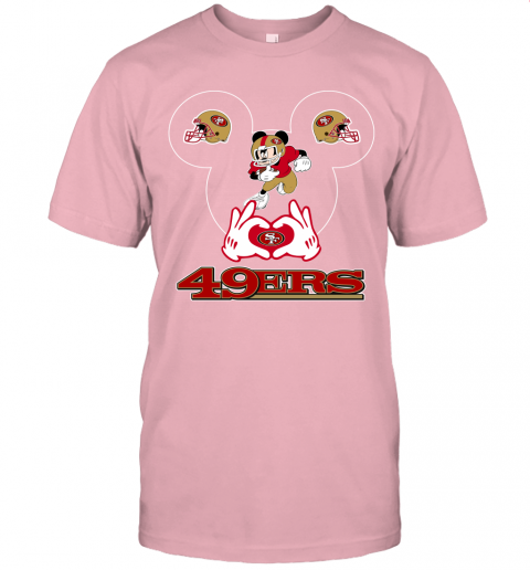 uv6n i love the 49ers mickey mouse san francisco 49ers jersey t shirt 60 front pink