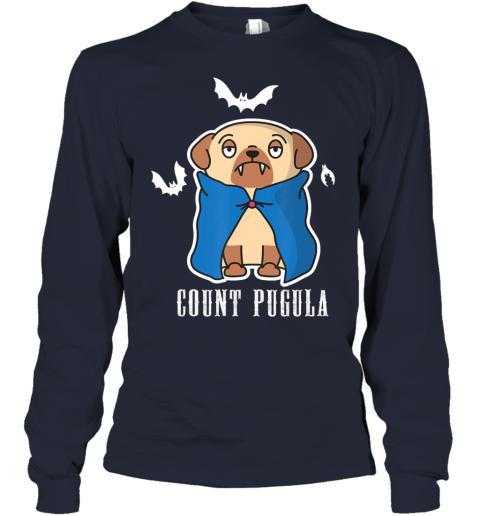 Count Pugula Funny Halloween Pug Dog Dracula Vampire Gift Youth Long Sleeve