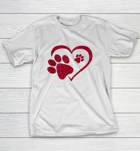 Paw Print Heart Dog Cat Owner Lover Girl Valentine Day T-Shirt