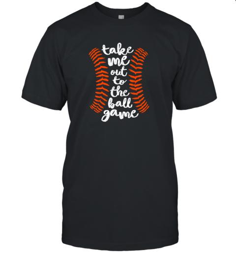 Take Me Out Ball Game Shirt Baseball Song Orange Black Blue Unisex Jersey Tee