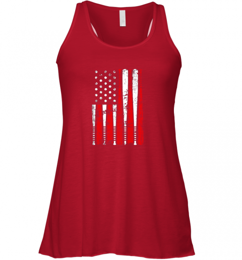 q55c vintage baseball bat american usa flag gift flowy tank 32 front red