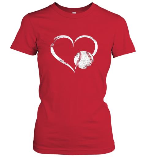 xutk i love baseballl funny baseball lover heartbeat ladies t shirt 20 front red