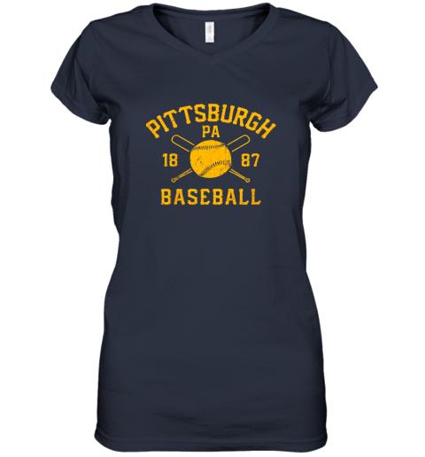 ib3x vintage pittsburgh baseball pennsylvania pirate retro gift women v neck t shirt 39 front navy