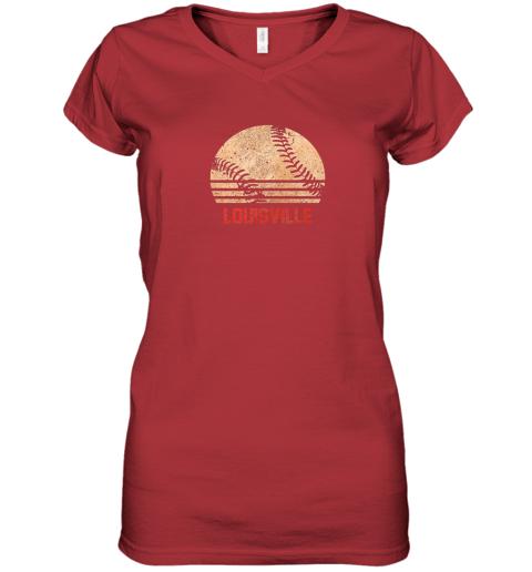 hr0v vintage baseball louisville shirt cool softball gift women v neck t shirt 39 front red