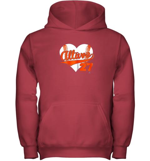 b57l jose altuve baseball heart shirtapparel youth hoodie 43 front red