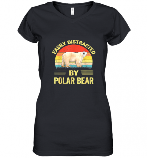 Easily Distracted By Polar Bear Gift For Polar Bear Lovers TShirt Women's V-Neck T-Shirt