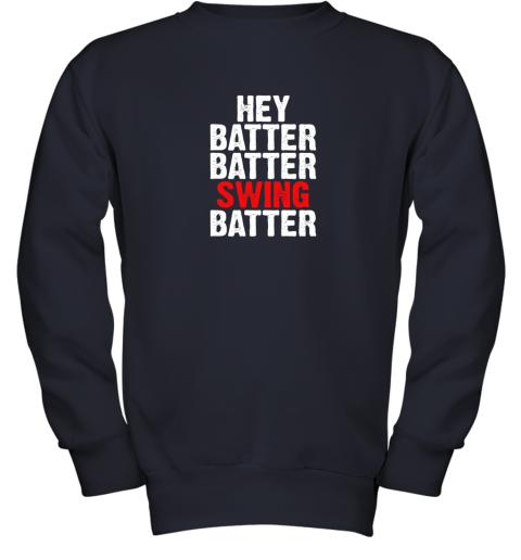 itil hey batter batter swing batter funny baseball youth sweatshirt 47 front navy