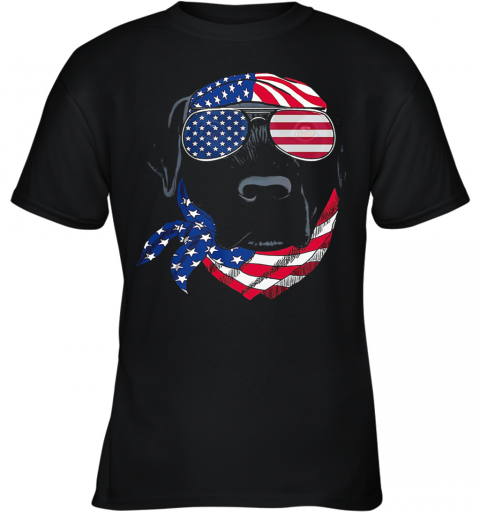 Dog American Flag Veteran Independence Day Youth T-Shirt