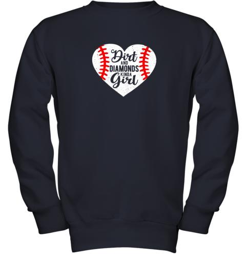 pkvy dirt and diamonds kinda girl baseball youth sweatshirt 47 front navy