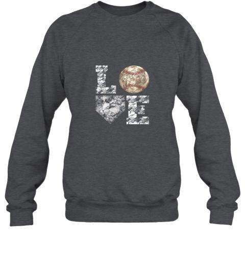 mmz1 baseball distressed ball cute dad mom love gift sweatshirt 35 front dark heather
