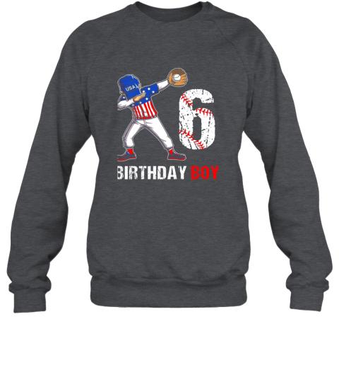 qcpt kids 6 years old 6th birthday baseball dabbing shirt gift party sweatshirt 35 front dark heather