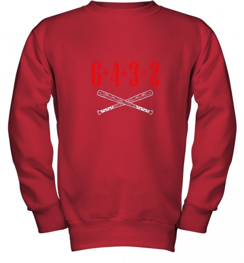 spb4 funny baseball math 6 plus 4 plus 3 equals 2 double play youth sweatshirt 47 front red