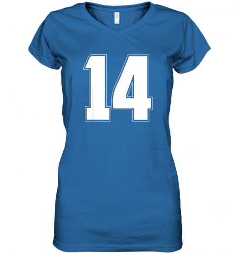 56jl halloween group costume 14 sport jersey number 14 14th bday women v neck t shirt 39 front royal