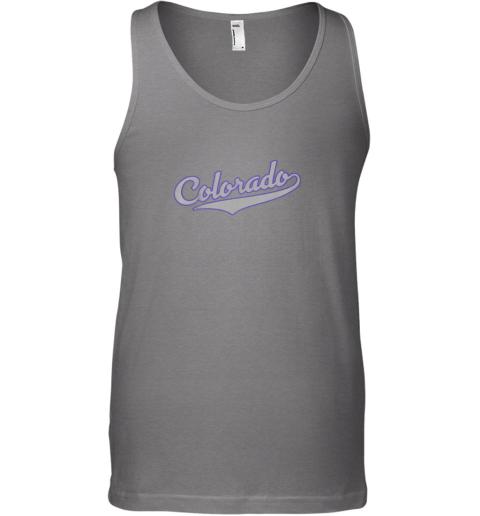 xgao colorado shirtretro baseball script design unisex tank 17 front graphite heather