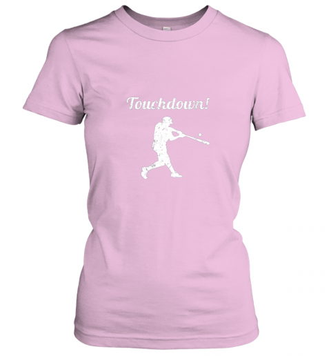 mp1f touchdown funny baseball ladies t shirt 20 front light pink