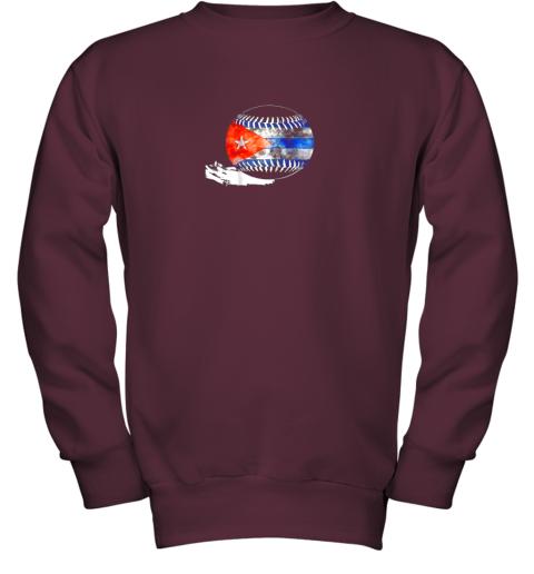 vvoz vintage baseball cuba flag shirt cuban pride youth sweatshirt 47 front maroon