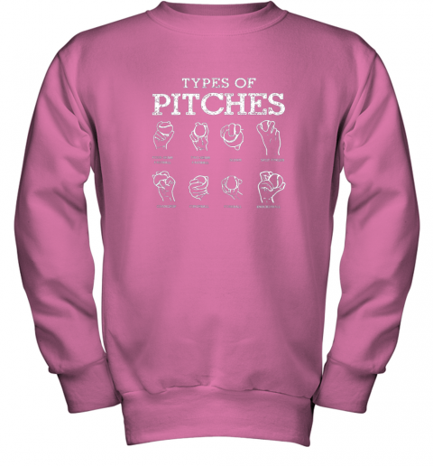 r0ws types of pitches softball baseball team sport youth sweatshirt 47 front safety pink