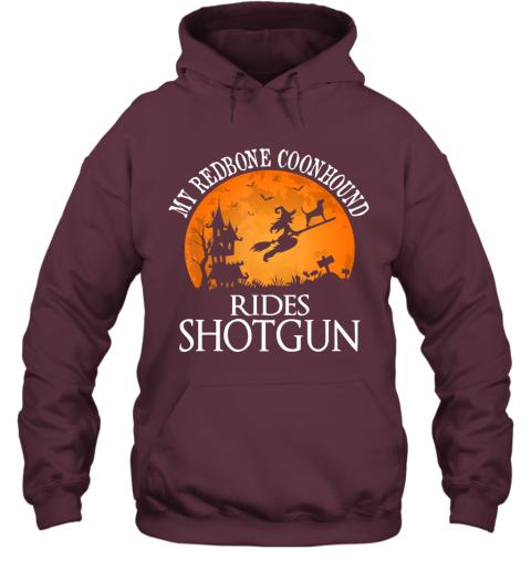 Redbone Coonhound Rides Shotgun Dog Lover Halloween Gift Hoodie