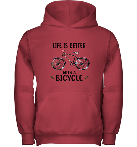 sx33 life is better with a bicycle youth hoodie 43 front red