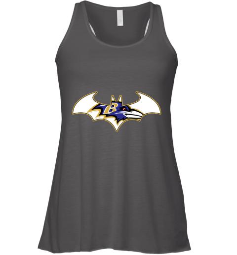 vhxx we are the baltimore ravens batman nfl mashup flowy tank 32 front dark grey heather