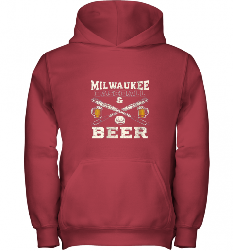 cpmk love milwaukee love baseball youth hoodie 43 front red