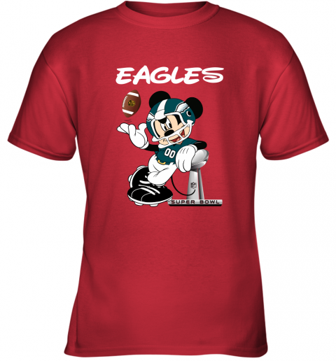 o8j8 mickey eagles taking the super bowl trophy football youth t shirt 26 front red