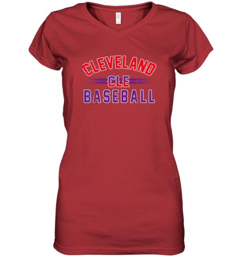 cqj8 cleveland cle baseball women v neck t shirt 39 front red