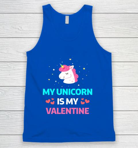 Funny Valentines Day Shirt Unicorn Is My Valentine Tank Top 4