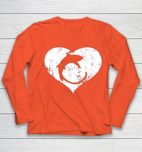 I Love Sharks Gifts Thresher Shark Heart Valentine Gift Youth Long Sleeve 3