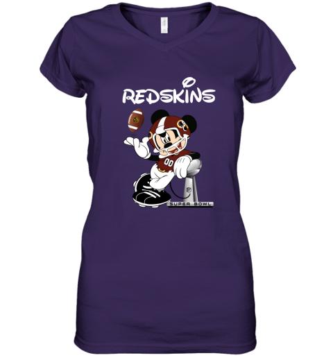 vqlr mickey redskins taking the super bowl trophy football women v neck t shirt 39 front purple