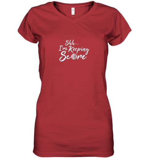 kcc8 scorekeeper gift funny baseball team score book keeper women v neck t shirt 39 front red