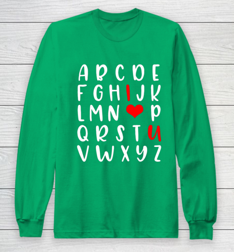 Alphabet ABC I Love You Romance Valentine Slogan Long Sleeve T-Shirt 4