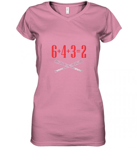 ury6 funny baseball math 6 plus 4 plus 3 equals 2 double play women v neck t shirt 39 front azalea