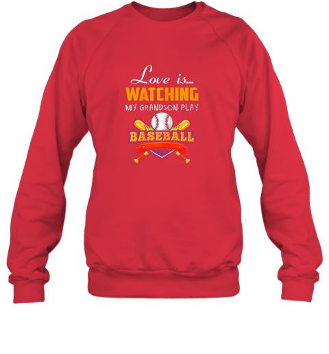 brqk love is watching my grandson play baseball shirt grandma sweatshirt 35 front red