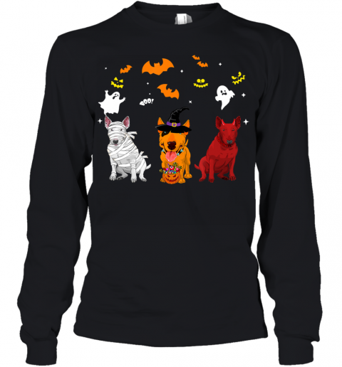 Halloween Bull Terrier Dogs Lovers Mummy Witch Demon Youth Long Sleeve