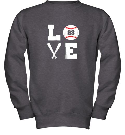 aipk i love baseball player number 23 gift shirt youth sweatshirt 47 front dark heather