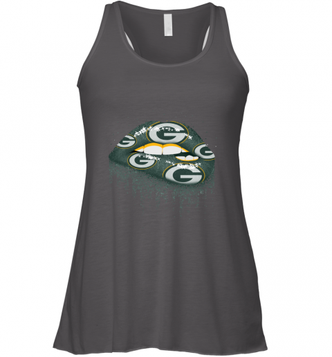 5m6x biting glossy lips sexy green bay packers nfl football flowy tank 32 front dark grey heather