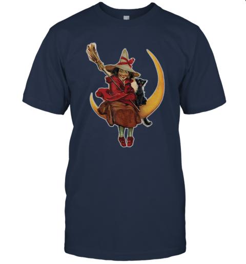 WITCH ON THE MOON PUMPKIN BLACK CAT Vintage Halloween T-Shirt