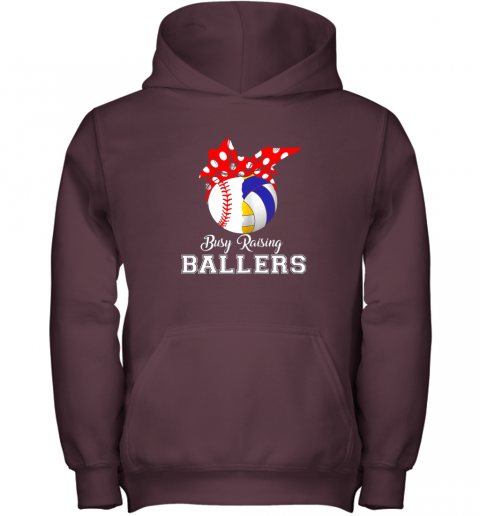 4zxv baseball volleyball busy raising ballers shirt mothers day youth hoodie 43 front maroon