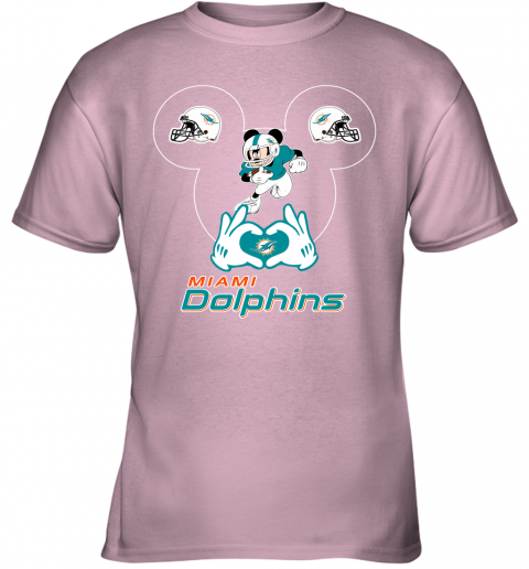 rovl i love the dolphins mickey mouse miami dolphins youth t shirt 26 front light pink