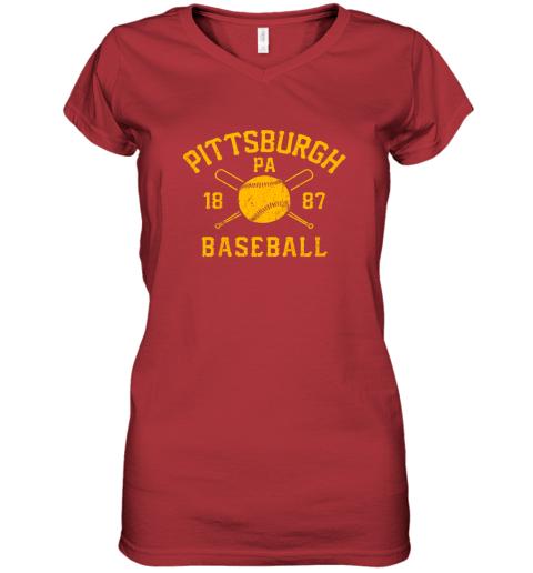ib3x vintage pittsburgh baseball pennsylvania pirate retro gift women v neck t shirt 39 front red
