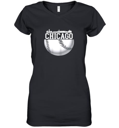 Vintage Downtown Chicago Shirt Baseball Retro Illinois State Women's V-Neck T-Shirt