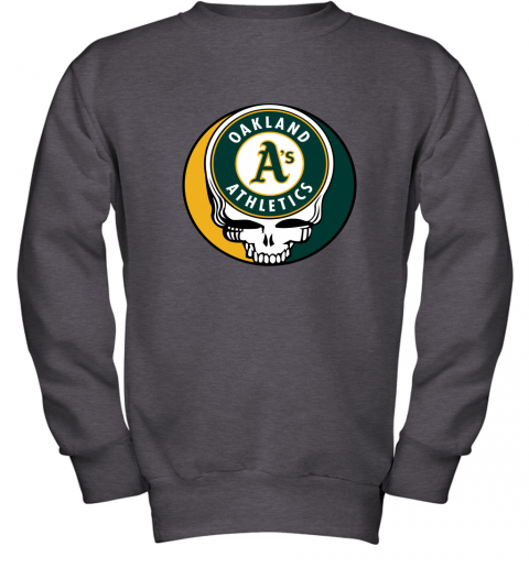06ns oakland athletics the grateful dead baseball mlb mashup youth sweatshirt 47 front dark heather
