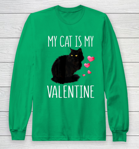 Black Cat Shirt For Valentine s Day My Cat Is My Valentine Long Sleeve T-Shirt 4