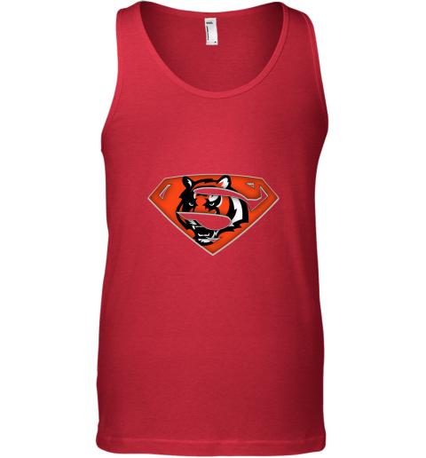 lh9q we are undefeatable the cincinnati bengals x superman nfl unisex tank 17 front red